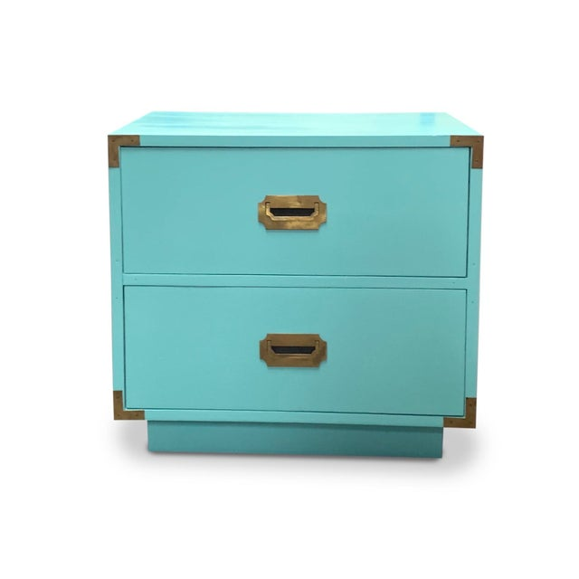 Vintage Aqua Dixie Campaign Nightstands - a Pair For Sale In Chicago - Image 6 of 8