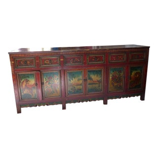 Elegant Antique Tibetan Style Credenza For Sale