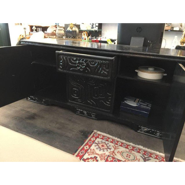 1970s Brutalist Carved Wood Lacquered Credenza by Witco For Sale - Image 5 of 6