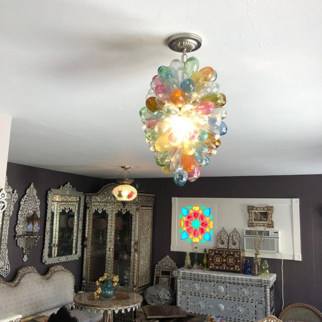2020s Stained Hand-Blown Glass Colorful Light Fixture For Sale - Image 5 of 12