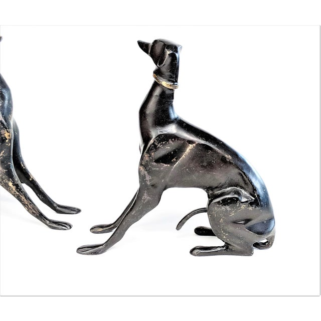 Bronze Greyhound Dog Statues - Set of 3 For Sale In Miami - Image 6 of 11