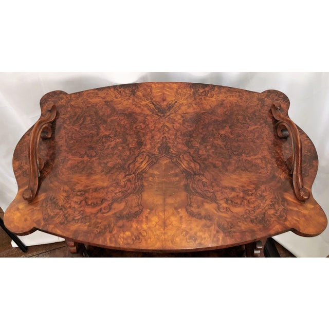 English Traditional Antique English Burled Walnut Canterbury, Circa 1850-1860. For Sale - Image 3 of 5
