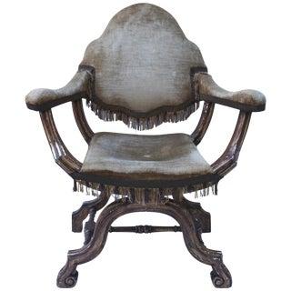 Antique Italian Savonarola Armchair For Sale