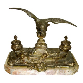 19th Century Bronze and Marble Inkwell with Eagle Sculpture Desk Set For Sale