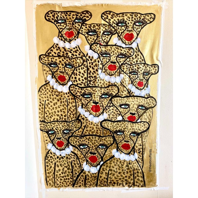 Expressionism Glam Cheetah Army Original Painting For Sale - Image 3 of 3