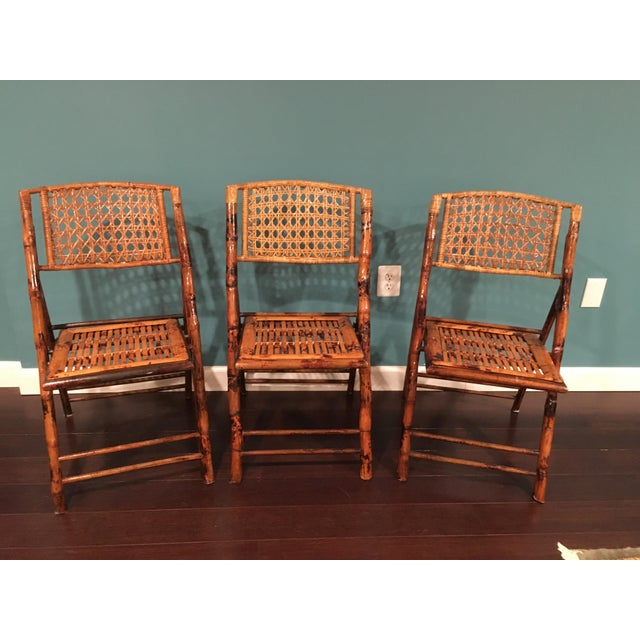 Vintage Tortoise Bamboo Folding Chairs - Set of 3 | Chairish