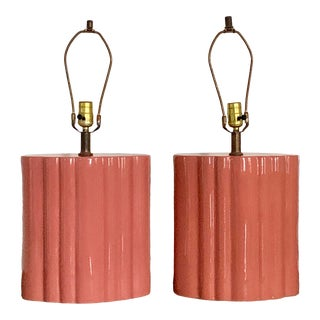 Vintage Mid Century Ribbed Ceramic Table Lamps - a Pair For Sale