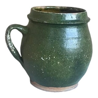 Antique 1900 French Green Hand Painted Terra Cotta Handled Pot For Sale