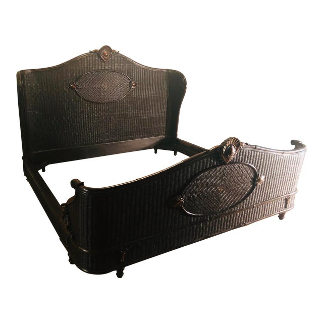 Country Ralph Lauren King-Sized Wicker and Wood Bedframe For Sale