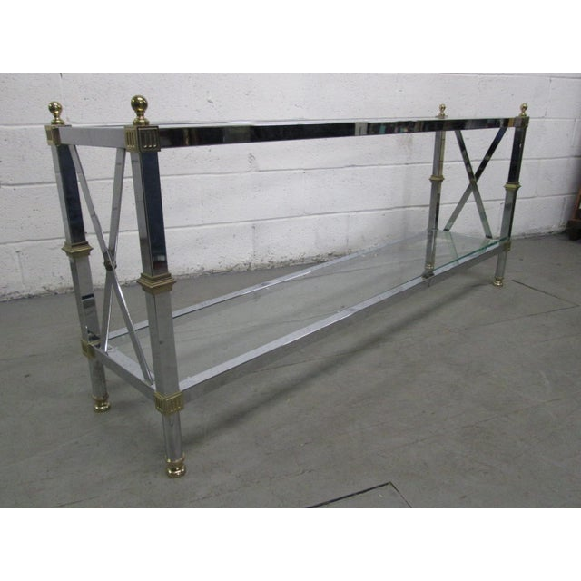 1950s Chrome and Brass Console Table For Sale - Image 5 of 5