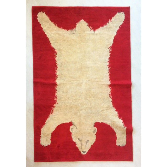 Red 1960s Vintage Wool Polar Bear Red Rug - 3′10″ × 5′9″ For Sale - Image 8 of 8