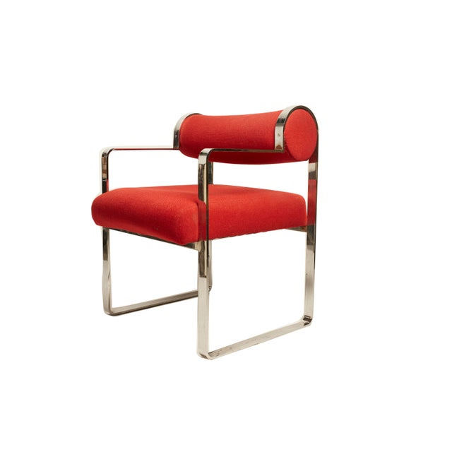Gastone Rinaldi Style Modern Chrome Armchairs- A Pair For Sale - Image 4 of 5