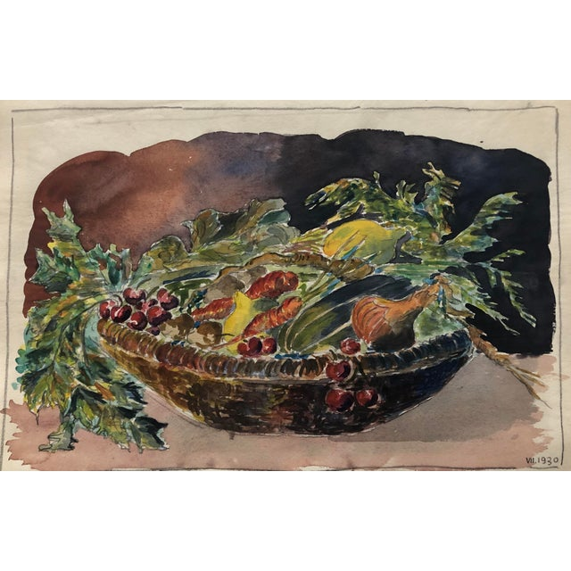 1930s 1930 Vegetable Harvest Still Life by Olga Soliva For Sale - Image 5 of 5