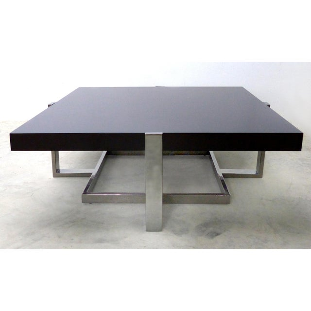 La Spada & Mazza for Medea Coffee Table in Palisades and Chrome, Italy Offered for sale is an ebonized palisander and...