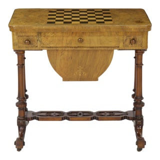 Early Victorian Figured Walnut Antique Games and Work Table, Circa 1860-80
