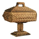 Image of Antique Hand Carved Wood Tramp Art Keepsake Box With Lid on Stand For Sale