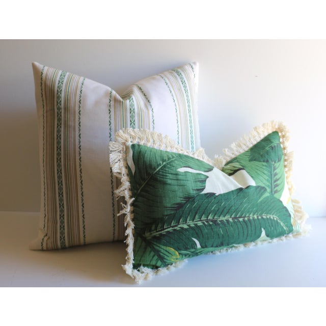 Embroidered Green Stripe Pillow - Image 2 of 4