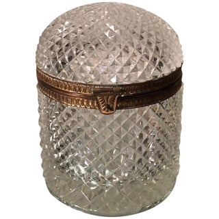 Superb Antique Baccarat Crystal Domed Box For Sale