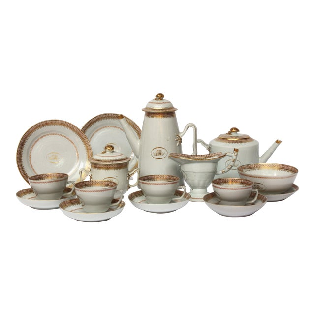 "Chinese Export Coffee / Tea Set, Monogrammed ""GM"" For Sale"