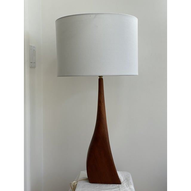 Sculptural Teak Table Lamp in the Style of Ernst Henriksen For Sale - Image 10 of 13