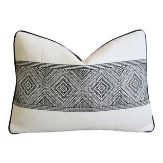 """French Manuel Canovas Taya Tribal Feather/Down Pillow 22"""" X 16"""" For Sale"""