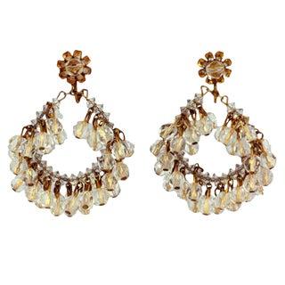 Miriam Haskell Crystal Hoop Earrings For Sale