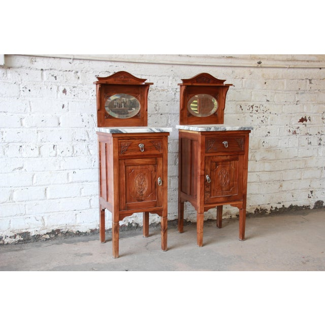 Victorian Walnut & Marble Nightstands - a Pair - Image 4 of 11