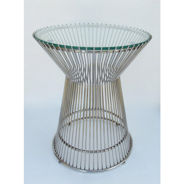 Mid-Century Modern Warren Platner-Style Polished Steel and Glass Round Accent, Side Table For Sale - Image 3 of 13