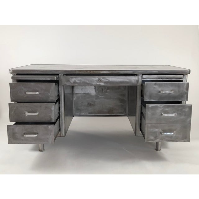 1960s Vintage Steelcase Tanker Desk With Brushed Steel Surface For Sale - Image 5 of 12