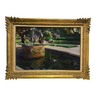 Americana Framed Central Park Acrylic Painting For Sale