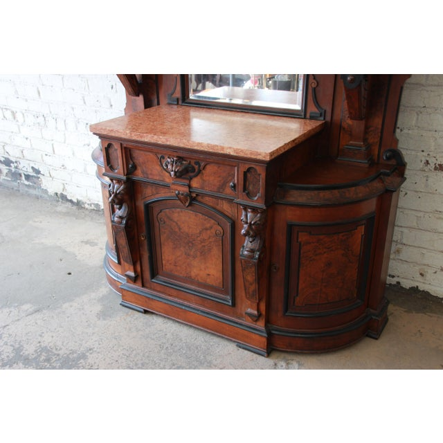 Brown Monumental 19th Century Victorian Ornate Carved Burled Walnut Sideboard For Sale - Image 8 of 13