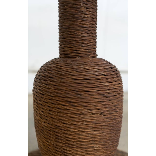 1900s Wicker and Wood Pedestal Table For Sale - Image 5 of 7