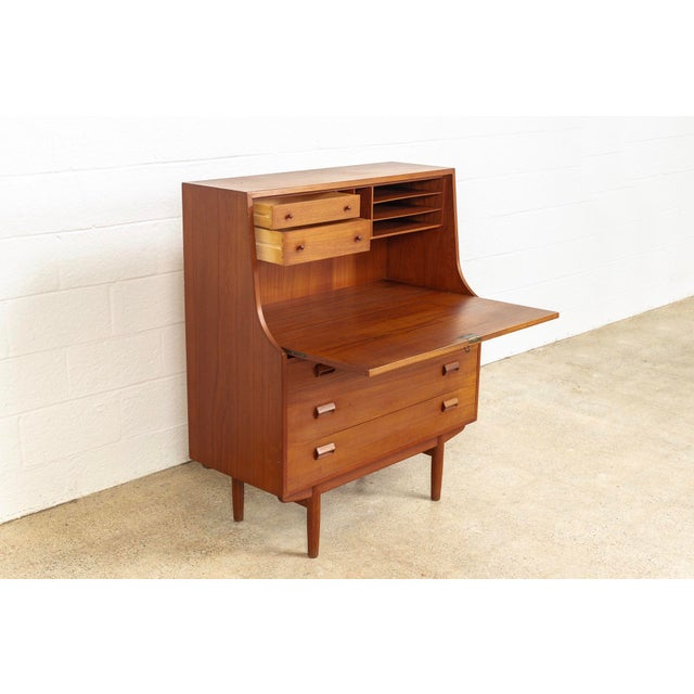 1950s Mid Century Danish Modern Borge Mogensen Teak Wood Secretary Desk For Sale - Image 5 of 11
