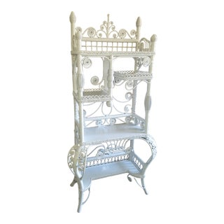 Victorian Style Large White Wicker Etagere For Sale