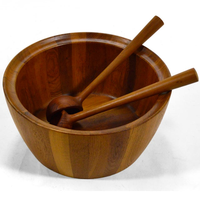 Oversize Staved Teak Bowl & Servers by Richard Nissen For Sale - Image 12 of 12
