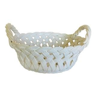 Vintage Ceramic Open-Work Oval Handled Basket From Portugal For Sale
