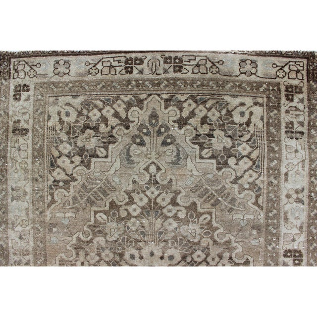 Neutral Tone Vintage Persian Lilihan Rug With Medallion For Sale - Image 9 of 13