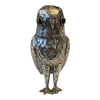 Vintage Sterling Figural Owl Sugar Caster With Glass Eyes For Sale