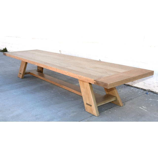 This oak banquet table is seen here in 180″ x 46″ with a 3″ thick top, however it can be built in any size. Because each...