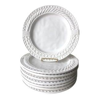 Italian White Ceramic Dinner Plates - Set of 8