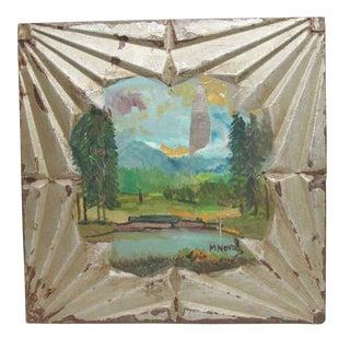 Hand Painted Novak Tin Panel With Lake Scene For Sale