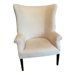 Wing Chair Upholstered in Pierre Frey Fabric For Sale