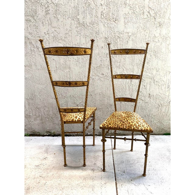 Hollywood Regency Gold Cheetah Print Giacometti Style Chairs - a Pair For Sale - Image 3 of 11