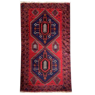 "Traditional Red, Navy Blue, Black, Brown and White Hand Knotted Baluchi Rug - 3'7"" X 6'9"" For Sale"