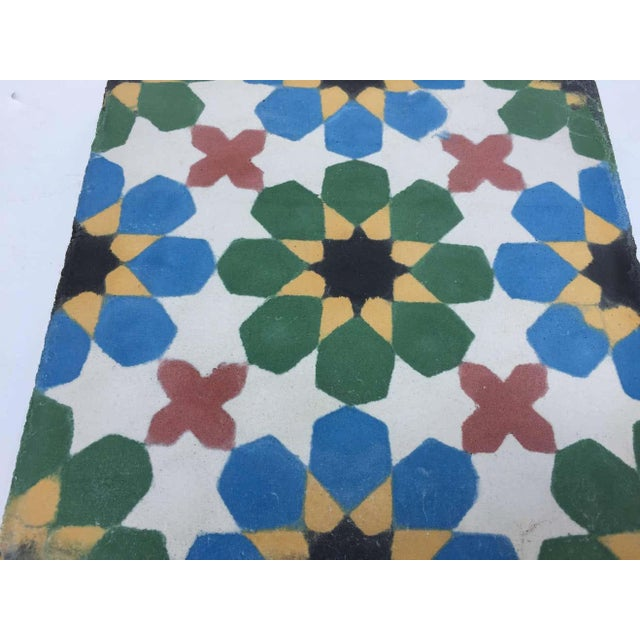 1990s Moroccan Hand-Crafted encaustic Cement Tile with Traditional Fez Moorish Design - Set of 56 For Sale - Image 4 of 13