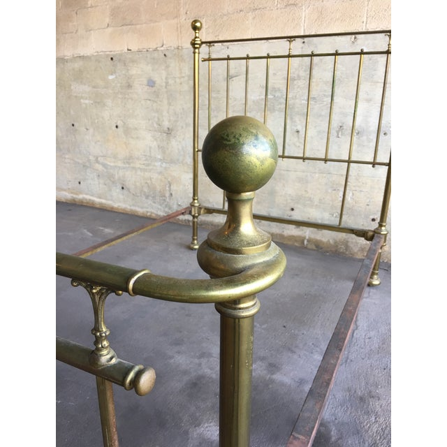 Vintage Traditional Brass Queen Size Bedframe For Sale - Image 4 of 12