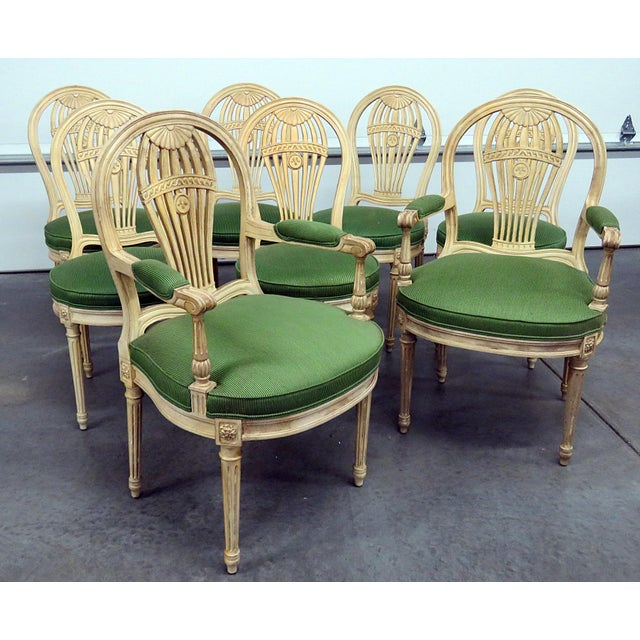 Green Vintage Mid Century Maison Jansen Style Dining Chairs- Set of 8 For Sale - Image 8 of 8