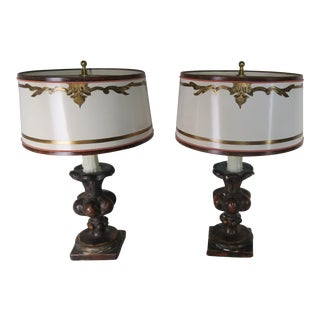 Late 20th Century Italian Polychrome Lamps With Parchment Shades- a Pair For Sale