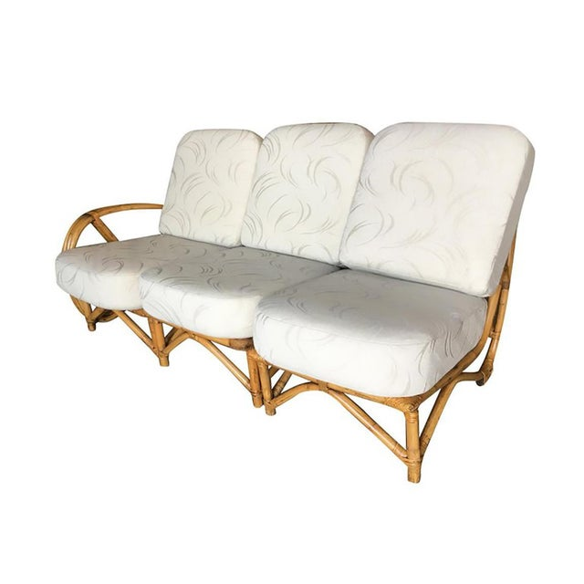 Mid-Century Modern Restored 3/4 Round Pretzel Rattan 3 Seater Sofa With Two Tier Table For Sale - Image 3 of 11