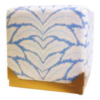 Cleo Stool - Blue Talavera Linen For Sale